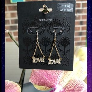 Gold crystal love chain earrings